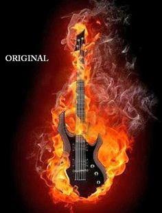 Fire Guitar Counted Cross Stitch Pattern by BeadedBirdXStitch Foto Gif, Gif Photo, Lion Live Wallpaper, Musik Wallpaper, Impression Poster, Mundo Musical, Elemental Powers, Flame Art, Guitar Photography