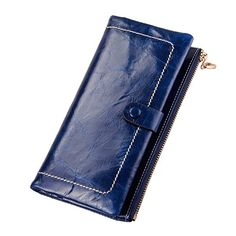 fe95ae3b6b MAIFEINI New Arrival Retro Cow Leather Long Wallets with Wax Finishing 5  Colors Available Blue