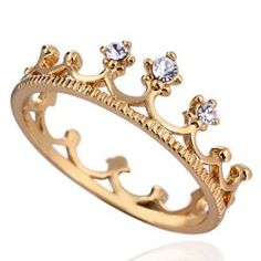 Graceful Solid Color Rhinestone Crown Shape Ring For Women