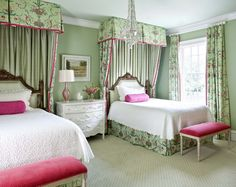 Wonderful soft colors, beautiful fabric  & great furniture make this an oh so inviting guest room. The pop of hot pink livens up the restful green. Designer Kevin Walsh of Bear-Hill Interiors.