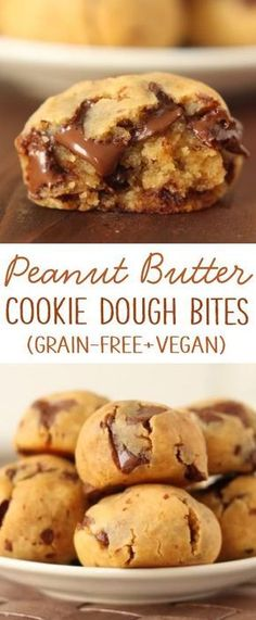 Peanut butter chocolate chip cookie dough bites with a secret ingredient! {natur… Peanut butter chocolate chip cookie dough bites with a secret ingredient! {naturally gluten-free and grain-free with a vegan / dairy-free option} Vegan Sweets, Healthy Sweets, Eat Healthy, Healthy Protein, Protein Snacks, Dinner Healthy, Protein Bars, Healthy Nutrition, High Protein