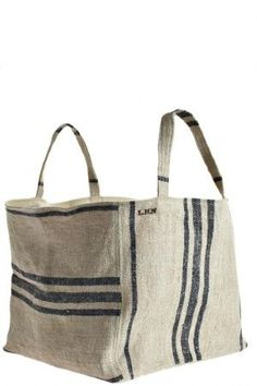 market tote by les habits neufs {for magazines or rolled guest towels} …boxy vintage linen tote (canvas lining)I'll take three, please :) Box style grain sack linen tote or storage bagThis would be easy to make with those cheap, striped Ikea rugs. Sacs Tote Bags, Reusable Tote Bags, Craft Bags, Linen Bag, Fabric Bags, Big Bags, Market Bag, Handmade Bags, Beautiful Bags