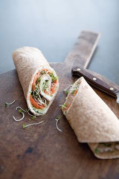 Smoked Salmon & Cucumber Wraps - with sprouts and light cream cheese. this would make a great on-the-go breakfast.