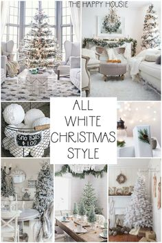 Today I'm sharing all-white Christmas decorating ideas and inspiration – the All White Christmas Style Series. Right now we actually have a lovely skiff of snow White Christmas Tree Decorations, White Christmas Trees, Christmas Home, Christmas Tree For Apartment, French Christmas, Christmas Bedroom, Father Christmas, Christmas Christmas, Christmas Ideas
