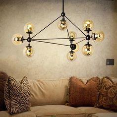 Mid century 10 arms modern brass chandelier - Industrial Hanging Light Lighting #Unbranded #BowlGlobeCountryDrumLanternVintage
