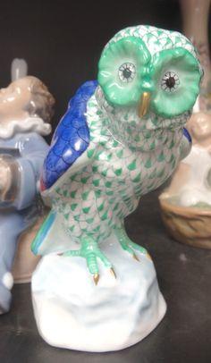 "Herend Owl Green Multicolor Fishnet 5"" Figure   eBay"
