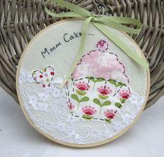 "Handmade 7"" Tilda Mmm Cake Embroidery Artwork made by me for I Love Pretty Things made using Tilda Fabrics"