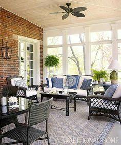 Enclosed patio with black wicker furniture 3 Season Room, Three Season Room, 3 Season Porch, Screened Porch Designs, Screened In Porch, Front Porch, Traditional Decor, Traditional House, Four Seasons Room