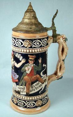 Vintage Old German Pottery Lidded Stein