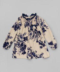 Loving this Blue & Beige Floral Dress - Toddler & Girls on #zulily! #zulilyfinds