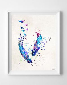Bird and Feathers Print Watercolor Art Nursery by InkistPrints