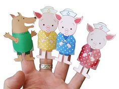 Three Little Pigs Finger Puppet Set digital by Tindaisies Cute Little Houses, Big Bad Wolf, Three Little Pigs, Finger Puppets, School Teacher, Primary Colors, Third, Pikachu, Projects To Try