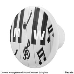 Custom Monogrammed Piano Keyboard Ceramic Knob