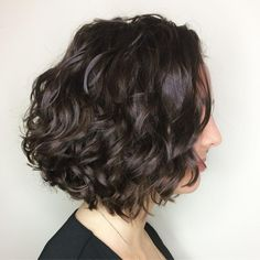 Brunette Curly Bob Hairstyle Bob Haircut Curly, Short Curly Hair, Curly Bob, Curly Hair Styles, Cute Bob Hairstyles, Lob Hairstyle, Short Bob Hairstyles, Bob Haircuts, Wedding Hairstyles