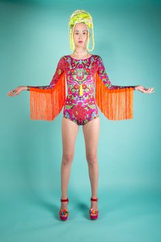 Fringed Lycra Festival Bodysuit with long sleeves by LOMstore