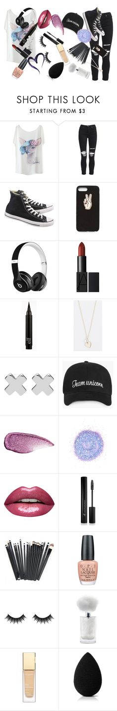 """My style"" by unicornbrianna16000 ❤ liked on Polyvore featuring AMIRI, Converse, Nasty Gal, Beats by Dr. Dre, Sydney Evan, Witchery, Stila, The Gypsy Shrine, Forever 21 and OPI"
