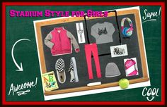 Stadium Style for Girls ~ click the image to be transported #girlsfashion #girlsclothing #kidsclothing #kids