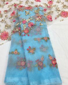 Organza Saree, Organza Dress, Georgette Fabric, Indian Attire, Indian Wear, Kerala Bride, Tamil Brides, Blouse Models, Work Sarees