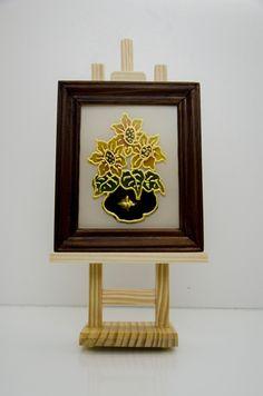 Sztaluga z motywem kwiatowym na szkle - Sub-Art - Obrazy olejne