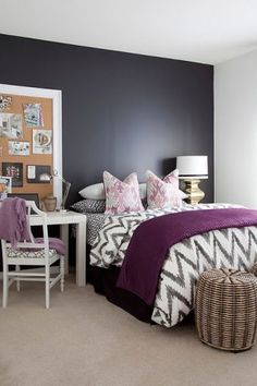 Layout: desk - bed - bedside table | sharp, B&W geometric pattern combined with the soft hues of pink and wine.