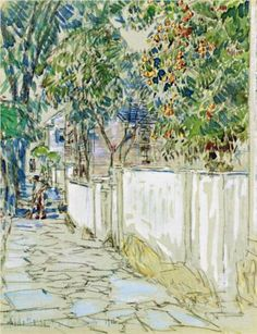 Flagstone Sidewalk, Portsmouth, New Hampshire - Childe Hassam