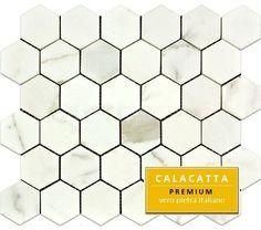 "$15.95SF Calacatta 2"" Hexagon Italian Marble Mosaic Polished"