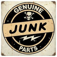 Vintage and Retro Tin Signs - JackandFriends.com - Vintage Junk Parts Metal Sign, $16.98 (http://www.jackandfriends.com/vintage-junk-parts-metal-sign/)