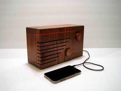 Vintage radio as iPhone dock.
