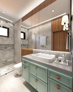 Double Vanity, Sweet Home, Kitchen Cabinets, Bathtub, Bathroom, Architecture, House, Home Decor, Style
