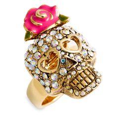 Betsey Johnson Crystal Skull Ring