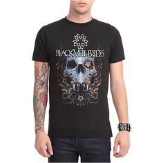 Black Veil Brides Fanged Skull T-Shirt   Hot Topic ($16) ❤ liked on Polyvore featuring tops, t-shirts, black veil brides, hot topic, skull print t shirt, hot topic t shirts, bride top and bridal tops