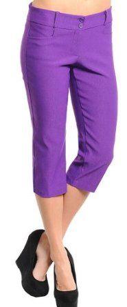 Stanzino Women's Casual Solid Capri Pants S purple Stanzino. $12.73