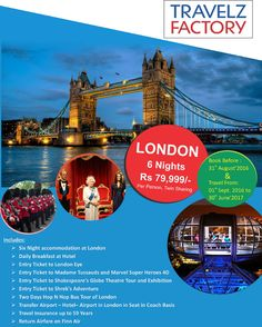 Travelz factory is pioneer travel company deal in all kind of tour packages, international tour packages from delhi, International air tickets booking,holiday packages at very affordable price.London-Paris Tour Packages in Delhi NCR