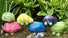 A garden rock caterpillar. a fun spring project for kids