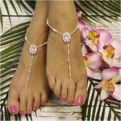 PINK barefoot sandals -pink foot jewelry - pink wedding sandals