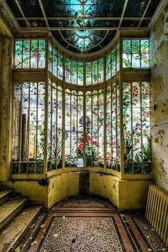 Beautiful stained glass window in an abandoned home