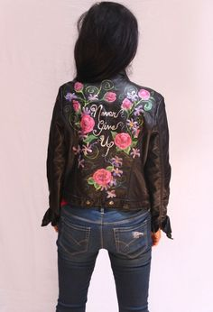 Hand Painted Vegan Leather Moto Jacket - Never Give Up! #Mossimo #Motorcycle
