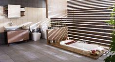 Sunken Bathtub With Half Privacy Wall