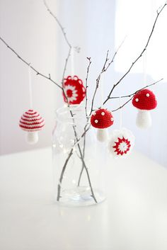 Handmade Christmas decorations are unique and very stylish ornaments and winter holiday gifts. Knits, crochet, embroidery and applique designs enhance the Christmas spirit, make warm and very personal Knitted Christmas Decorations, Knit Christmas Ornaments, Crochet Christmas Trees, Crochet Ornaments, Ornament Crafts, Christmas Knitting, Christmas Crafts, Ornaments Ideas, Handmade Ornaments