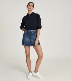 Kaleigh Mid Blue Denim Mini Skirt – REISS Denim Mini Skirt, Mini Skirts, Reiss, Blue Denim, Zip, Casual, Model, How To Wear, Cotton