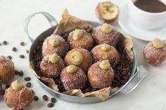 gogosi-cu-crema-de-cafea-1 Romanian Food, Eat Dessert First, Muffin, Sweets, Cookies, Breakfast, Desserts, Recipes, Crack Crackers