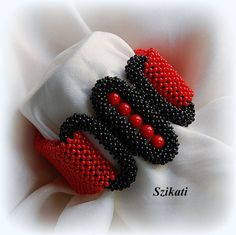 Items similar to Red Black Beaded Bracelet Statement Beadwoven Bracelet Original Beadwork RAW High Fashion Jewelry Womens Accessory Gift for Her OOAK on Etsy Beaded Cuff Bracelet, Seed Bead Bracelets, Seed Bead Jewelry, Beaded Jewelry, Seed Beads, Art Perle, Christmas Gifts For Her, Right Angle Weave, Bead Crochet