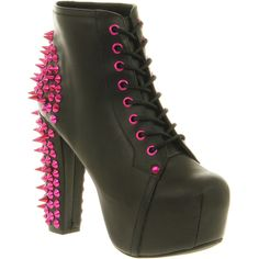 Jeffrey Campbell Lita Platform Ankle Boot (830 ARS) ❤ liked on Polyvore featuring shoes, boots, ankle booties, heels, jeffrey campbell, litas, black leather pink spikes, chunky heel boots, ankle boots and black high heel boots