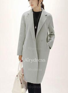 Coats - $22.97 - Cotton & Cotton Blend Long Sleeve Lapel Buttons Pockets Coats (1715235246)