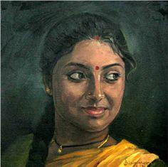 Tamil women 2 - Painting by S. Elayaraja (www.elayarajaartgallery.com)
