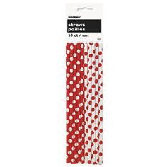Ruby Red Dots Paper Straws (includes 10pcs in a pack)