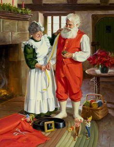 Tom Browning Mr & Mrs Santa Claus Christmas Artwork, Old Fashioned Christmas, Christmas Scenes, Christmas Paintings, Father Christmas, Santa Christmas, Christmas Pictures, Vintage Christmas, Christmas Couple