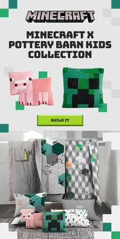 Build A Bed - This bedding is perfect for when defenders of the Overworld need to catch some ZZZS. Minecraft x Pottery Barn Kids collection. Minecraft Bedding, Minecraft Room Decor, Minecraft Bedroom, Minecraft Crafts, Minecraft Party, Minecraft Furniture, Minecraft Skins, Lego Bedroom, Kids Bedroom