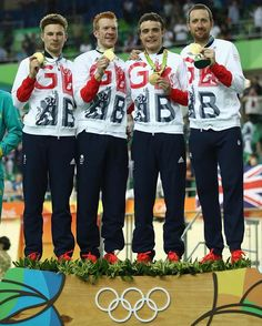 The golden boys - the men's team pursuit squad standing proudly on the top of the podium
