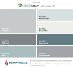 I found these colors with ColorSnap® Visualizer for iPhone by Sherwin-Williams: Agreeable Gray (SW Sea Salt (SW Meander Blue (SW Repose Gray (SW Anew Gray (SW Rainwashed (SW Intimate White (SW Interior Paint Colors, Paint Colors For Home, Exterior House Colors, Exterior Paint, Paint Color App, Sw 7036, Sherwin Williams Gray, Sherwin Williams Rain Washed, Passive Sherwin Williams